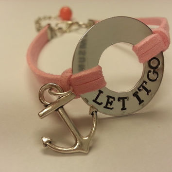 LET IT GO Washer Bracelet, Handstamped Bracelet, Faux Suede feat. Anchor Charm & Wire Wrapped Bead Dangle - Choose Your Color!