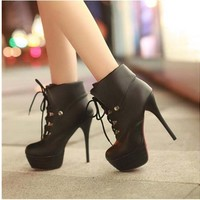 Women Winter Boots High Thick Heels Jeffery Campbell Winter Martin Boots Sexy Woman Punk Shoe (us5)