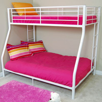 Walker Edison Furniture Co. BTODWH Sunrise White Twin/Double Bunk Bed