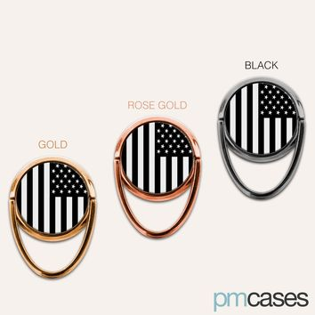 Black & White American Flag USA Phone Ring Finger Holder Mount Stand Grips
