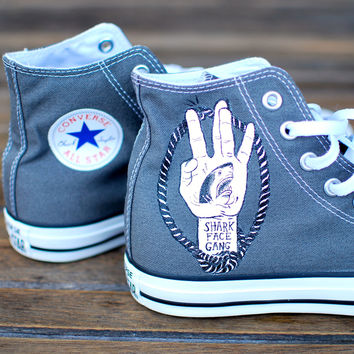 aa2ebc9bd23a The Shark Face Gang - Macklemore   Ryan Lewis The Heist custom Converse  shoes