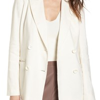 Leith Double Breasted Linen Blend Blazer   Nordstrom