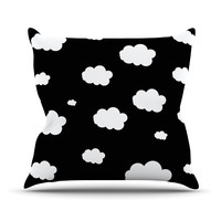 "Suzanne Carter ""Clouds"" Black White Throw Pillow"