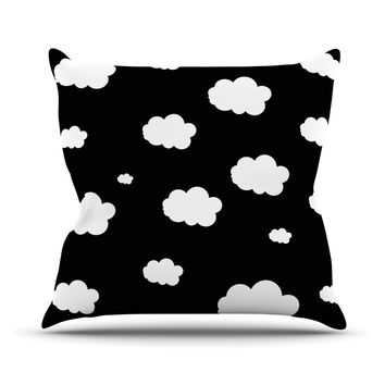 "Suzanne Carter ""Clouds"" Black White Outdoor Throw Pillow"