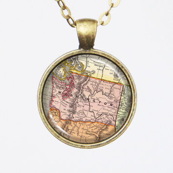 Customizable Washington Map Necklace - Vintage Map of Washington-Vintage Map Series