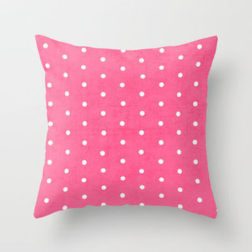 pink and white polka dots Throw Pillow by her art