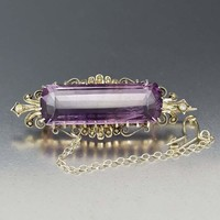 Antique Mid 1800s Silver Pearl and Amethyst Brooch