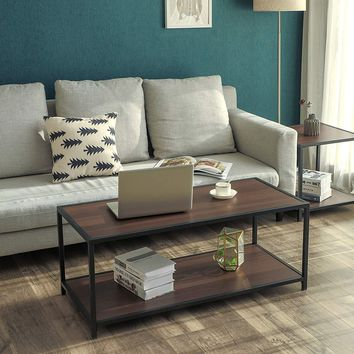 Iron Frame Coffee Table with Wooden Top and Bottom Shelf, Brown and Black