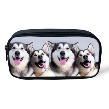 Kawaii Cosmetic Bags Women Animal Husky Dog Print Children Pencil Pen Case Make Up Bag Zipper Pouch Children Girls Storage Bag