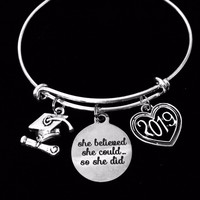 She Believed She Could Jewelry Adjustable Bracelet Silver Expandable Charm Bangle Trendy One Size Fits All Gift Diploma Graduation Cap