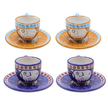 Vietri Chicks & Pigs Four Espresso Cup Set With Plate