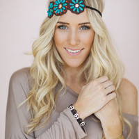 Beaded Floral Headpiece, Bohemian Seed Bead Applique Headband, Flower Hairband with Turquoise Beading and Elastic (HB-185)