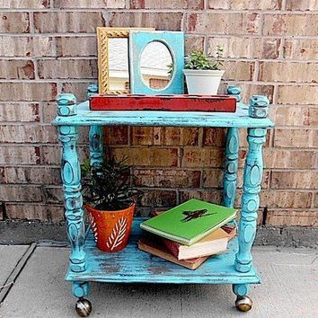 BOHO CHIC Upcycled Vintage Media Cart End by timelessNchic