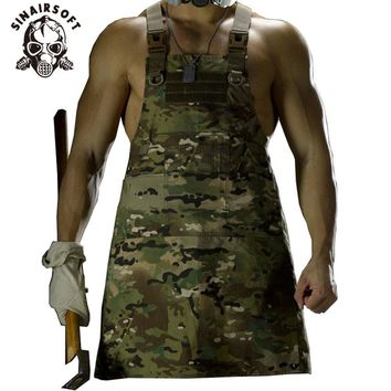 SINAIRSOFT 11 Color!Unisex Sleeveless Tactical Vest Apron Pinafore Camouflage Technician Mechanic Apron Tactical Multicam LY1402