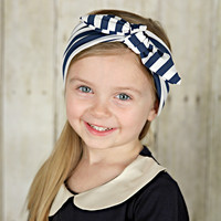 Top Knot Jersey Knit Rabbit Ear Retro Headbands - Stripes!