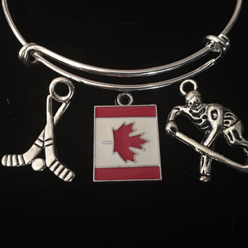 Hockey Canada Flag Expandable Charm Bracelet Silver Wire Adjustable Bangle Hockey Sticks Trendy Stacking Gift Sports