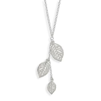 "16.5"" Necklace with Three Leaf Drop"