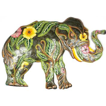 Painted Flower Elephant -24 by 15 inch - Caribbean Craft