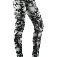 Black And White Lots Of Skulls Leggings Design 16