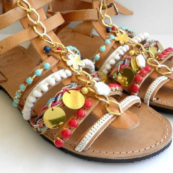 Bohemian gladiator Greek leather sandals - Boho chic decorated sandals - Beach shoes - Spartan sandals - Women summer shoes