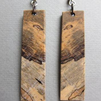 Spalted Tamarind Exotic Wood Long Narrow dangle ExoticwoodJewelryAnd ecofriendly