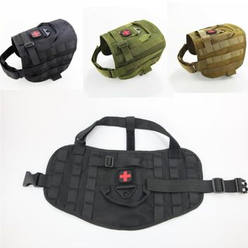 Military Tactical Dogs Training Vest Molle 1000D nylon Vest Harness Dog Clothes hunting Harnesses SWAT Large puppy Pet Jacket