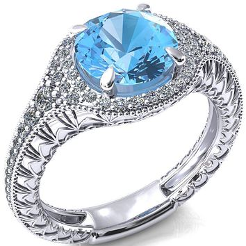 Kylee Round Aqua Blue Spinel Accent Diamond Milgrain and Filigree Design 4 Prong Engagement Ring