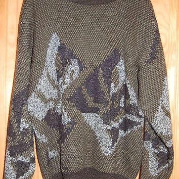 Vintage 80s Oversize Baggy Grandpa Cosby Adam Sloane Graphic Sweater Mens Size Medium