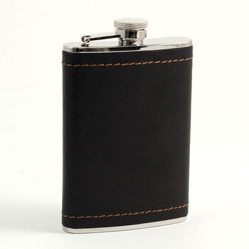 8 oz. Stainless Steel Flask in Black Leather and Mustard Stitch Accents.