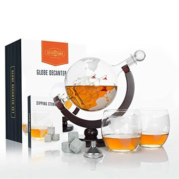 Atterstone Whiskey Decanter Set with Whiskey Stones Gift Set, Globe Glasses and Funnel - 850ml Globe ( Perfect for Fathers Day and Graduation Gift Sets )