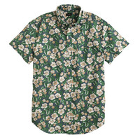J.Crew Mens Secret Wash Short-Sleeve Shirt In Faded Indigo Floral