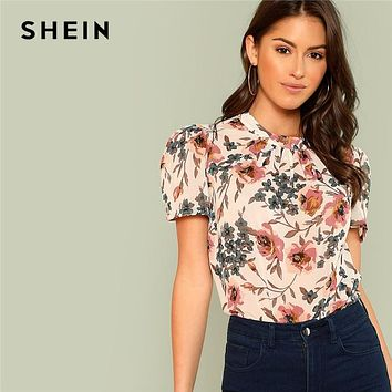 SHEIN Prairie Chic Boho Multicolor Floral Print Gathered Neck Puff Sleeve Womens Tops and Blouses for Women Summer Top
