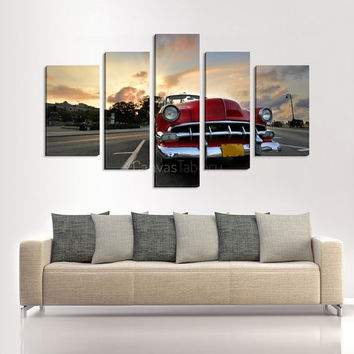 Chevrolet Photo Print on Canvas | Antique Car Canvas Paint | Photo Print on Canvas Old Car Ready to Hang  5 Panels Stretched Frame