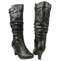 Women's Knee High Double Buckle Ruched Low Heel Casual Comfort Boots Black
