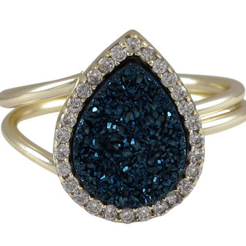 Blue Druzy Teardrop Gold Plated Sterling Silver CZ Ring