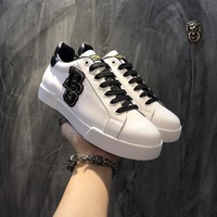 Dolce & Gabbana D & G Portofino Sneakers In Nappa Calfskin With Patches Cs15875268i705 - Best Online Sale