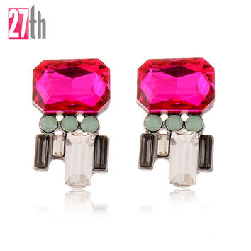 Fashion Imitation Crystal Piercing Earrings Gold Plated Trendy Women Earrings 2016 New Party Girls Jewelry Accessory 4 Colors