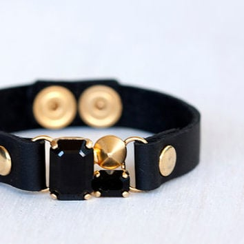bracelet, Black leather bracele, Swarovsky crystal, Friendship bracelet. Black and gold bracelet.