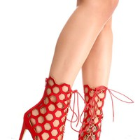 RED HONEY COMB PEEP TOE SUEDE MATERIAL FRONT LACE BACK ZIPPER DESIGN HIGH HEELS