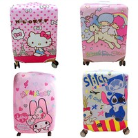 Cute Cartoon Hello Kitty My Melody Stars Stitch Travel Luggage Cover Protector Elastic Fabric Baggage Trolley Protective Covers