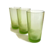 Vintage 60's Glasses Lime Green Tumblers Ribbed Bottoms Set of 3