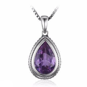 ON SALE - Bezel Set Alexandrite Sapphire Pear 6.6CT IOBI Precious Gems Pendant Necklace
