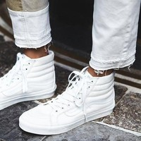 """VANS""SK8-HI Fashion Classic black and white cloth shoes authentic shoes White"