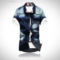 Fashion Turn Collar Short Sleeve Shirt With Double Pockets [10312511363]
