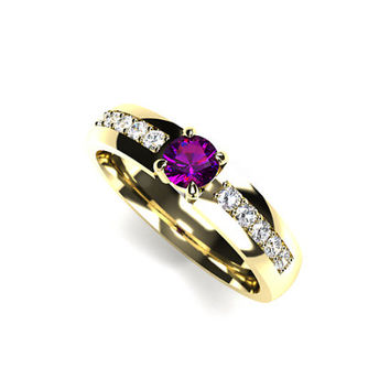 Black Amethyst and diamond engagement ring, yellow gold, amethyst solitaire, unique, diamond wedding, purple engagement ring, custom rings