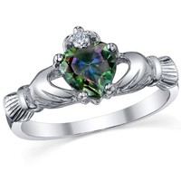 Sterling Silver 925 Irish Claddagh Friendship & Love Mystic Rainbow Topaz Heart CZ Ring Size 4