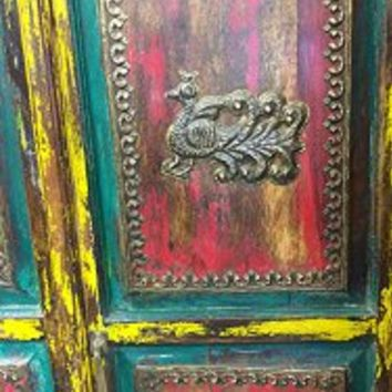 Vintage Indian Cabinet Reclaimed Antique Jodhpur Peacock Carved Teal Patina Storage Armoire Indian Furniture | Mogul Interior