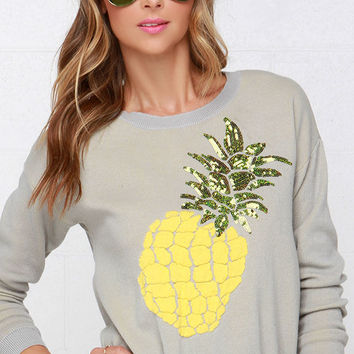 Wilde Heart Pineapple Crush Grey Sequin Sweater