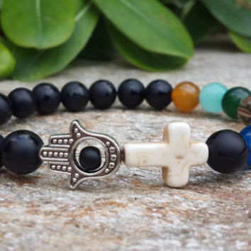 Mens Hamsa Cross 7 Chakra Bracelet, Mens Beaded Onyx Turquoise Cross Smoky Quartz Agate Aquamarine Carnelian Jade Opal Free Shipping