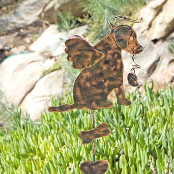 Labrador Retriever Dog Metal Pet Memorial Lawn Ornament Garden Stake Copper Yard Art Outdoor Spike Pet Lover Silhouette Patina
